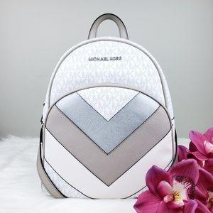 NWT Michael Kors MD Abbey Backpack Bag White Grey